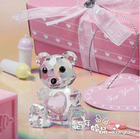 Wholesale Cute Crystal Love Heart Teddy Bear Wedding Favors Gifts Birthday Baby Shower Gifts Christening