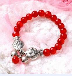 Hot! handmade Tibetan silver kiss fish red agate beaded bracelet elasticity Double Fish women 12pcs