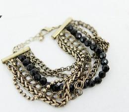 Promotion lien pour perles Nouveau style Femmes fille esthétisme style lien multicouches perles main chaîne bracelet dame Bracelet