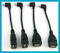 Wholesale 10pcs angle L connector plug male micro pin to female USB OTG host data cable for GALAXY S3