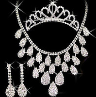 Wholesale Fashion Sparkling Alloy Rhinestone Crown Necklace Earrings Set Wedding Party Jewelry Set C11