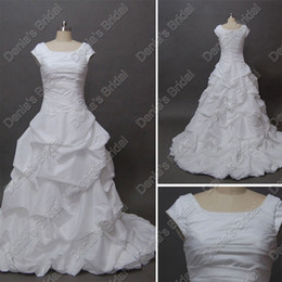 2016 Collection Wedding Dresses Short Sleeves Bead Pick Up Skirt Real Actual Images Bridal Gowns DB214