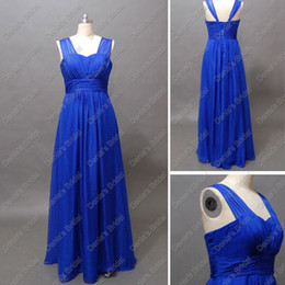 2017 Royal Blue Poly Chiffon Bridesmaid Dress Pleated Ruched Floor Length Real Actual Images Party Gowns DB215