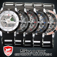 Wholesale SHARK Analog Digital Wrist Wtches Mens Sport Quartz Rubber Military Watch SH041