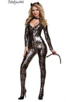 Animal Witches & Gothic Beauties Funny S014 Halloween Costumes & Cosplay Fashion Sexy Lingerie Leopard cat one-piece cosplay Clubwear
