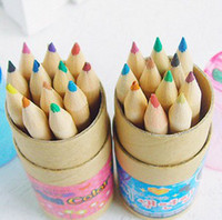 Wholesale Wooden color Pencil cute cartoon paper barrel box sharpener set for DIY gift student study