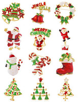 Wholesale Christmas Enamel Alloy Brooches Mix Styles Brooches for Christmas