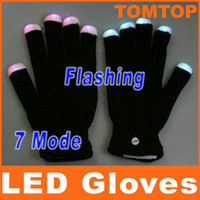 Wholesale 7 Mode LED Rave Light Finger Lighting Flashing Glow Gloves Black for christmas party clubs H8033B