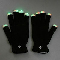 Wholesale Fashion Mode LED Rave Light Finger Lighting Flashing Glow Gloves for birthday party xmas H8033