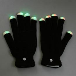 Wholesale Fashion Mode LED Rave Light Finger Lighting Flashing Glow Gloves for birthday party xmas H8033