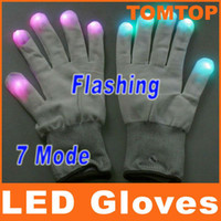 Wholesale Fashion Mode LED Rave Light Finger Lighting Flashing Glow Gloves for birthday party xmas H8033W