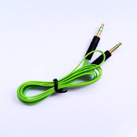 Wholesale 100pcs mm AUX AUXILIARY CABLE CORD TXTEND FOR iPOD MP3 CAR MM GOLD PLUG
