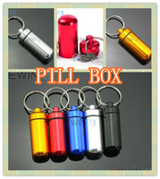 Wholesale Aluminum Pill Box Case Bottle Holder Container Keychain New mm By Post Air Mail