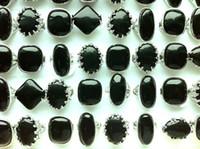 Cheap Natural black stone ring mixed mixed mixed size 1034 free shipping