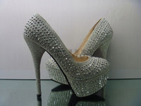 Lady High- heeled Diamond Wedding shoes silver black women's ...