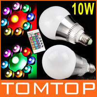 Wholesale High power W E27 Color Changing RGB LED Light Lamp V LM Bulb with Remote Control H8860