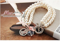 Wholesale New fashion Women girls elegant peace sign multilayer Pearl bead hand chain lady bracelet bangle