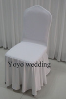 Wholesale 100PCS MOQ White Color Swag Bottom Spandex Banquet Chair Cover With For Wedding Use