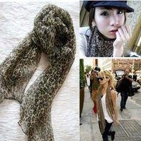 Wholesale Fashion Large Leopard Print Soft Chiffon Shawl Scarf Stole Cotton Blends hot sale