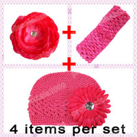 Wholesale headbands for baby Daisy Flower Clip camellia flower clip Kufi Beanie hat Crochet Headband U pick