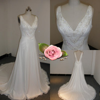 2012 - Real Picture V neck A line Crystal Beaded Bodice White Chiffon Suzhou Beach Wedding Dress