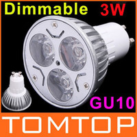 Wholesale 3 LEDs V GU10 Dimmable LED Light Lamp White Warm White Bulb Spotlight LM H8889
