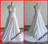 Wholesale Graceful Bateau A line Chapel Chiffon Lace up Applique Beaded Wedding Dresses Bridal Gowns