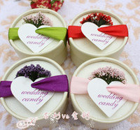 Wholesale Lavender Wedding Candy Box Packaging paper Boxes favors gifts Ribbon Romotic