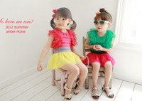 free shipping clothes - 08280025 BST Girls Clothes Set Puff Sleeve and TUTU Skirt Pieces Suit