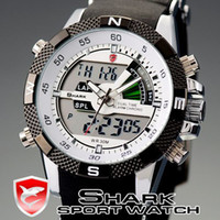 Sport Men's Quartz-Battery SHARK Mens LCD Display Digital Wrist Watch Date Alarm Quartz Black Rubber Band Casual Retail SH041