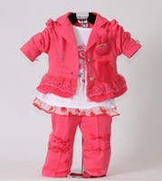 Wholesale Retail Hot Pink Kids Clothes Set For Baby Girls Coat and T Shirt and Pants New Autumn Clothing