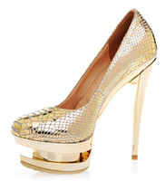 Wholesale 2014 Spring Wedding Shoes comfotable wear high heel wedding golden bridal shoes for elegant women snake print evening party shoes