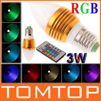 Wholesale 3W E27 V RGB Multi Color Change LED Light Bulb candle lamp with Remote Control H8916