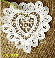 Wholesale cotton hand made Shaped Heart battenburg lace Doily cup mat cm