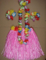 Wholesale Fever hula girls halloween skirts christmas Rice grass skirts flower hoop pc set set B01529