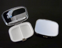 Wholesale Silver Pill box Metal Blank Rectangle Pill Container DIY Pill Case Drop Shipping