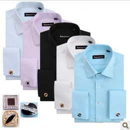 Wholesale Frenchy Long Sleeve Shirt Formal Men s Shirts Groom Tuxedos shirt With Cufflink cuff button