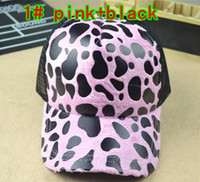 Wholesale Leopard lady lorry cap Sun hat Leisure caps Truck cap Snapbacks hats Mesh hat color