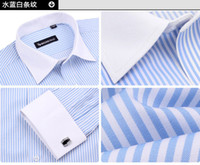 Wholesale Frenchy Long Sleeve Shirt Formal Men s Stripe Shirts Groom Tuxedos shirt With cuff button Cufflink ok