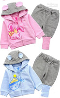 Wholesale New cute Baby Jogging Suit Hooded Coat Jacket Pant Outfit Kids hoodied Pink Blue Rabbit outfits