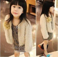 Wholesale Children girls autumn upper Faux Fur coat floral cardigan long sleeve zipper coat outerwear jacket