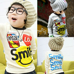 Wholesale 2012 Autumn Korean smiley the letters children s Boys baby long sleeved T shirt bottoming shirt
