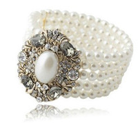 Wholesale Fashion Charming Gold Jewellery Faux Pearl Rhinestone Stretch Bracelet piece Women s Jewelry