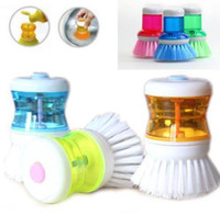 Wholesale Hot SellinG Palm Dish Brush with Washing Up Liquid Soap Dispenser Storage Set