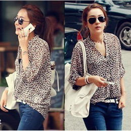 Wholesale 2012 NEW ARRIVAL Korean fashion ladies Leopard print Long Sleeve Blouse silk Chiffon Tops