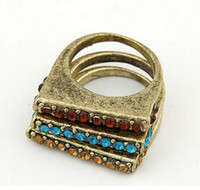 Wholesale Vintage Style Simple Rhinestone Ring Set styles mix set unisex jewelry
