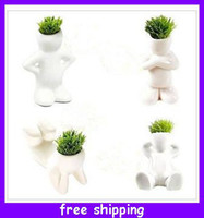 Wholesale Creative Hair man Bonsai Grass Doll Offices Mini Plant Fantastic Homes Decor pot seeds