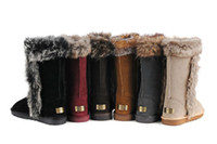 Knee Boots Snow Boots Women Boots Cheap Snow Boots IVG Women's Winter Classic Tall Boots Sheepskin Fox Fur Boots Fractory Price Free Shipping