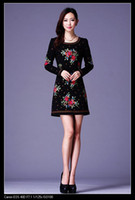 Wholesale New Lady Fashion Elegant Chinese Traditonal Style Dresses embroider Long Sleeve Black Orange