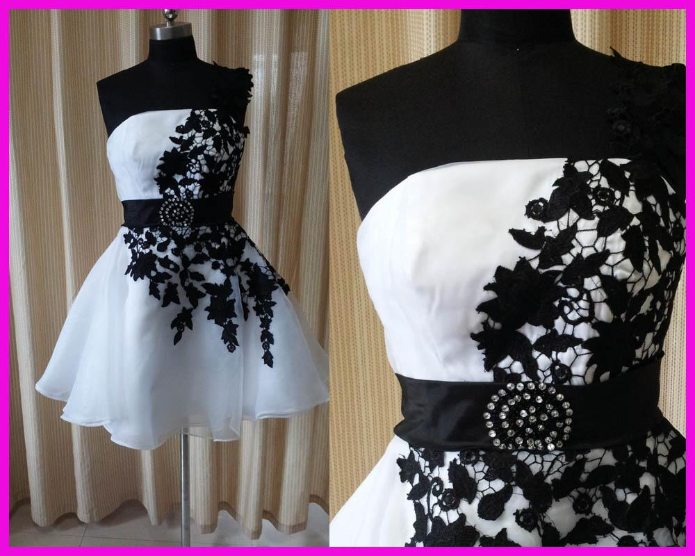 Black And White One Shoulder Backless Lace Short Homecoming Dress ...